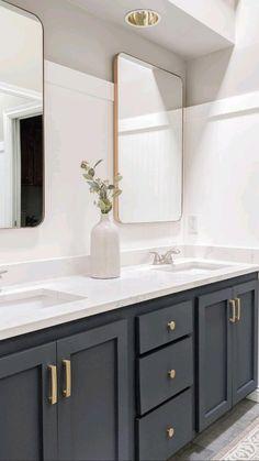 Downstairs Bathroom, Bathroom Renos, Upstairs Bathrooms, Modern Bathroom Vanities, Pottery Barn Bathroom, All White Bathroom, Master Bathroom Vanity, Bathroom Sink Decor, Small Bathroom Renovations