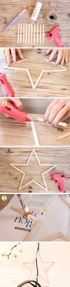Tuto to make a simple Christmas star with ice sticks. - Tuto to make a simple Christmas star with ice sticks. Popsicle Stick Crafts, Craft Stick Crafts, Diy And Crafts, Crafts For Kids, Popsicle Sticks, Navidad Simple, Navidad Diy, Navidad Ideas, Christmas Star