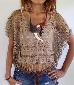 White Black Beige Brown and от SpellMaya Crochet Tank Tops, Crochet Shirt, Crochet Cardigan, Knit Crochet, Boho Look, Crochet Fashion, Lace Tops, Crochet Clothes, Black Blouse