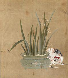 Un chat et un pot d'orchidées    Période Édo (1600-1867), Japon  Museum of Fine arts, Boston