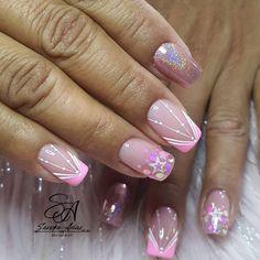 Cute Nail Designs, Acrylic Nail Designs, Acrylic Nails, Love Nails, Pink Nails, Super Nails, Nail Art Galleries, Sparkle, Beauty