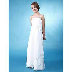 A-line Princess Spaghetti Straps Floor-length Chiffon Junior Bridesmaid Dress  – USD $ 89.99 / Lightinthebox.com