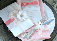 VINTAGE GLAMOUR  Lace Wedding Invitation  por peachykeenevents, $10.00