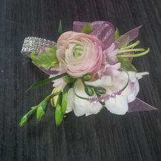 #WristCorsage for a #VIP #ranunculus #HyacinthBlooms #freesia #DiamondWristlet #LovesPink #LiliesWhite