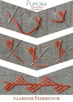 Embroidery Stitches Ideas maidenhair stitch tutorial - Learn how to embroider with the lexicon of embroidery stitches. Step by step tutorials on how to do the feather stitch and it's variations. Embroidery Stitches Tutorial, Learn Embroidery, Sewing Stitches, Silk Ribbon Embroidery, Embroidery Needles, Hand Embroidery Patterns, Embroidery Techniques, Embroidery Applique, Cross Stitch Embroidery