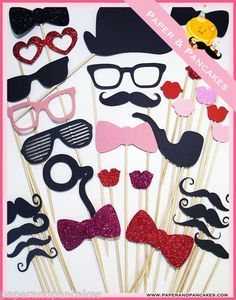 Photobooth Props - 32 Piece Wedding Photobooth Party Props - Mustache On a Stick