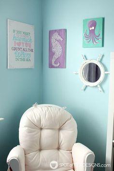 Under the Sea #Nursery Wall art using @DecoArt_Inc Americana Acrylic Paint | spotofteadesigns.com