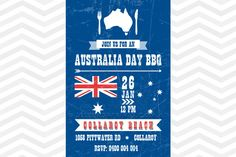 Australia Day BBQ Invitation Blue, red and white Australia Day Party Invitation with the flag and stars:  -  http://www.jellyfishprints.com.au/product/australia-day-bbq-invitation/
