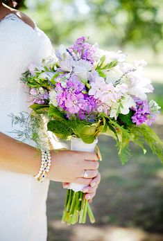 Bouquets from Real Weddings: Hydrangeas and Wild Flowers | Photo by Jenny Evelyn
