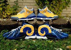 """Air Jordan """"Throwback Los Angeles Rams"""" for Cortland Finnegan by DeJesus Customs"""
