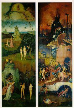 Рай и Ад - Левая и правая створки триптиха Воз сена. Иероним Босх