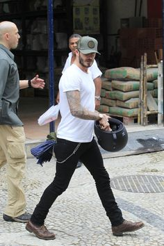 David Beckham leather boots