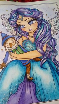 Pinocchio's Wish- Pinocchio and the Blue Fairy with blue and purple hair from Fairy Tale Princesses and Storybook Darlings by Hannah Lynn Colouring, Coloring Books, Coloring Pages, Meaningful Drawings, Hannah Lynn, Fairytale Fantasies, Blue Fairy, Pinocchio, Colour Palettes