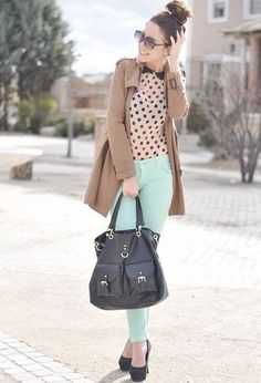 Pair our polka dot peplum blouse and mint skinnies together for the summer version of this look! <3