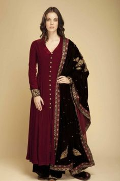Embroidered classic burgandy kurta with broad...