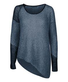 Another great find on #zulily! Dark Denim Mélange Asymmetrical-Hem Sweater by Dex #zulilyfinds