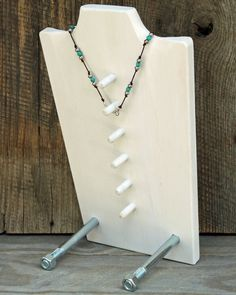 Notice how the back of this Necklace Display has pegs to hold any necklace at the proper length for display. Would be \very handy in your consignment or resale shop, says TGtbT.com