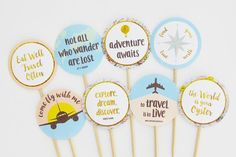 Travel Party Decorations, Travel Party Toppers