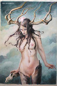 "jsrossbach: "" ""Cernuno"" watercolor + gouache, x by J. Fantasy Women, Dark Fantasy Art, Demon Wings, Weird Art, Erotic Art, Figurative Art, Love Art, Mixed Media Art, Female Art"
