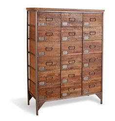 Buy the perfect vintage style apothecary chest. An 18 drawer, wood and steel industrial, factory style cabinet, perfect for loft living urban interiors. A large storage vintage inspired piece reflecting the industrial era.