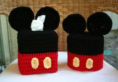 Disney inspired crochet Mickey Mouse spare toilet paper roll cover and tissue box cover.  Crochet patterns for Mickey Mouse decor.
