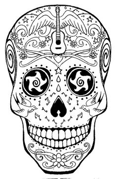 ☮ American Hippie Art ~ Coloring Page .. Music Sugar Skull