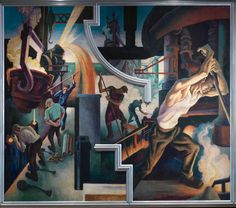 """""""Thomas Hart Benton's 'America Today' Mural Rediscovered,"""" on view through April 19, 2015, celebrates the gift of Benton's epic mural """"America Today"""" from AXA Equitable Life Insurance. Benton painted this mural for New York's New School for Social Research to adorn the school's boardroom in its International Style modernist building on West 12th Street.   Thomas Hart Benton (American, 1889–1975). Steel from America Today, 1930–31. #newyorkcity #bentonmural"""