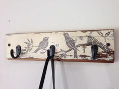 Handmade rustic wood coat rack or key holder with vintage bird graphic.  Rustic, shabby chic from reclaimed wood.