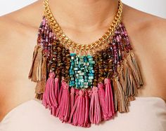 Colorful Beaded Tassel Necklace - Beaded Necklace - Pink Leather Necklace - Fringe Necklace - Tribal Necklace - Statement Necklace
