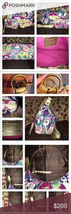 Coach Poppy Glam Hobo & Wristlet & Dust Bag Coach Poppy Glam in sturdy Canvas & Glitter Gold Patent Leather Handles & Trim! Hard to find bag! And here's a set! Its lined in hot pink sateen, 1 zip, multiple slip pockets, has a detachable/adjustable strap for option of Shoulder/Crossbody wear! Bag is 13 X 11 X 4.75 Wristlet is lined, has slip pockets for cards & room to fill! The set is pristine inside & out but one front right corner shows minimal wear & gold hardware O rings have minimal…