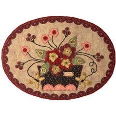wool applique floral basket