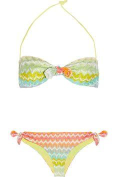 Missoni Calais Crochet Knit Bandeau Bikini