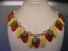Celluloid Strawberries & Bananas Necklace