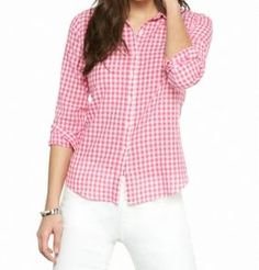 Love this pink & white gingham button down shirt.