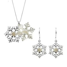 W HamondSterling Silver White Mother of PearlLarge Snowflake Two Piece Set A perfect gift for a loved one, this beautiful gift setfeatures a shimmering white Mother of Pearl snowflake necklace layered with a sterling silver snowflake, and embellished with a sparkling cubic zirconia centre.The earrings feature a sterling silver snowflake with a cubic zirconia centre and a hook fastening.Comprising of a pair of drop earrings, and necklace, complete with an 18 inch sterling silver chain. All i Sterling Silver Chains, Silver Jewelry, Christmas Gift Sets, Two Piece Sets, Snowflakes, Centre, Drop Earrings, Pearls, Diamond