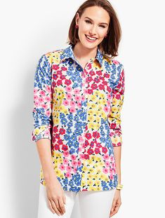 Classic Button Front Shirt - Vintage Floral | Talbots