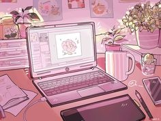 Discovered by Fujo~. Find images and videos about cute, gif and anime on We Heart It - the app to get lost in what you love. Aesthetic Gif, Aesthetic Vintage, Aesthetic Pictures, Aesthetic Wallpapers, Anime Scenery Wallpaper, Pastel Wallpaper, Wallpaper Desktop, Pink Wallpaper Laptop, Kawaii Wallpaper