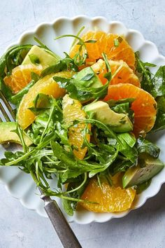 Citrus-Arugula Salad This easy salad recipe makes a stunning side dish for anything you've got cooking for dinner. The bright flavor of the citrus pairs perfectly with peppery arugula and avocado, plus a bit of jalapeño for a slight kick. Arugula Salad Recipes, Easy Salad Recipes, Easy Salads, Healthy Salads, Summer Salads, Vegetarian Recipes, Healthy Eating, Cooking Recipes, Healthy Recipes
