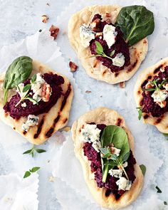 Homemade Flatbreads with Beet Pesto, Blue Cheese, & Pine Nuts #SweetPaul