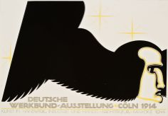 """Wilhelm Deffke: Plakatentwurf für den Wettbewerb Deutsche Werkbundausstellung Köln 1914, Kennwort """"Brummfliege"""", Ankauf 1913"""