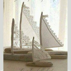 Barco feito de crochet --  3 Beautiful Driftwood Beach Decor Sailboats Antique Lace Sails Bohemian Inspired