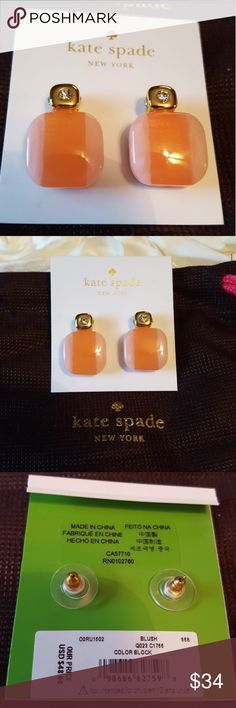 ♠️**SALE**Kate Spade Blush color block earrings NWT,never worn Kate Spade color block earrings in the color 'Blush'. I would best describe the color as peach.Very pretty and can be dressed up or down! Also comes with Kate Spade dust bag. Bundle with my other Kate Spade items! I ship same day or next day! **SALE PRICE IS FIRM. SALE ENDS THURSDAY NIGHT** kate spade Jewelry Earrings