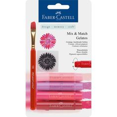 Faber Castell Design Memory Craft Gelatos Color & Clear Stamp, Red - 4 Colors Per Set Crayon Set, Art Supply Stores, Clear Stamps, Red And Pink, Paper Texture, Vibrant Colors, Bubbles, Stationery, Design