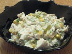 Salată de pui cu porumb şi sos de iaurt Ratatouille, I Foods, Risotto, Salad Recipes, Potato Salad, Food To Make, Foodies, Food And Drink, Cooking