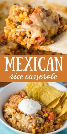 Vegetarian Mexican Rice, Vegetarian Casserole, Casserole Recipes, Rice Casserole, Healthy Mexican Casserole, Mexican Chicken Casserole, Authentic Mexican Recipes, Best Mexican Recipes, Favorite Recipes