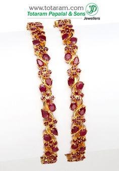 Totaram Jewelers: Buy 22 karat Gold jewelry & Diamond jewellery from India: Rubies & Emerald Bangles