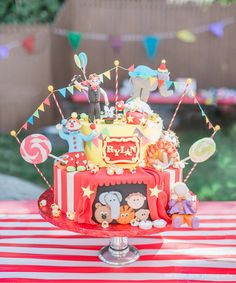 Fully Assembled Circus Cake Bunting TopperIncludes 5 Round Bamboo Sticks With Wooden Bead On