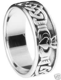 Large 925 Sterling Silver Irish Men\'s Claddagh Band Ring Sz 10-15 - Celtic