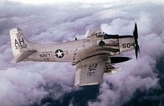 Navy Douglas Skyraider (BuNo of attack squadron Friendlies in flight in was assigned to Attack Carrier Air Wing 16 aboard the aircraft carrier USS Oriskany for a deployment to Vietnam from 26 May to 16 November Fighter Aircraft, Fighter Jets, Douglas Aircraft, History Online, Aircraft Photos, Thing 1, Aircraft Carrier, Vietnam War, Military Aircraft