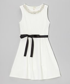 Take a look at this Ivory Pearl Ribbon Sash Dress by Monteau Girl on #zulily today!